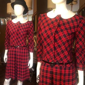 Vintage Red and Blue Plaid Mod Dress 1960's
